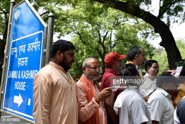 Members of Akhil Bhartiya Brahman Mahasabha during a protest outside Jammu and Kashmir House against the stone pelters and the killings of Amarnath...