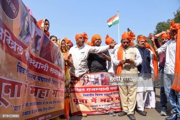 Members of Akhil Rajasthani Samaj Sangh protest for banning a movie Padmavati at Shanivar Wada on November 25 2017 in Pune India
