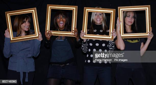 Members of All Saints ; Melanie Blatt, Shaznay Lewis, Nicole Appleton and Natalie Appleton hold picture frames at a north London studio to highlight...