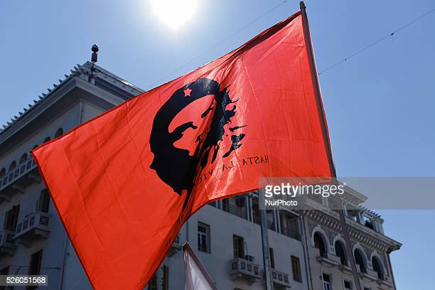 Members of All Workers Militant Front holding a flag with the portrait of Ernesto Che Guevara Left wing trade union members gathered today in...