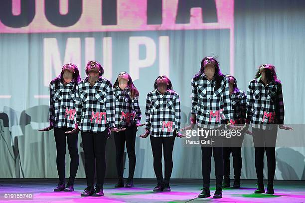 Members of Alpha Kappa Alpha Sorority Inc perform onstage at Morehouse College on October 29 2016 in Atlanta Georgia