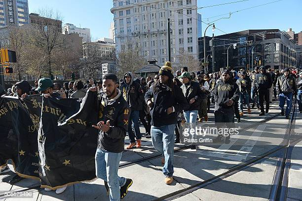 Members of Alpha Phi Alpha Fraternity Inc attend 2016 Martin Luther King Jr Day parade on January 18 2016 in Atlanta Georgia