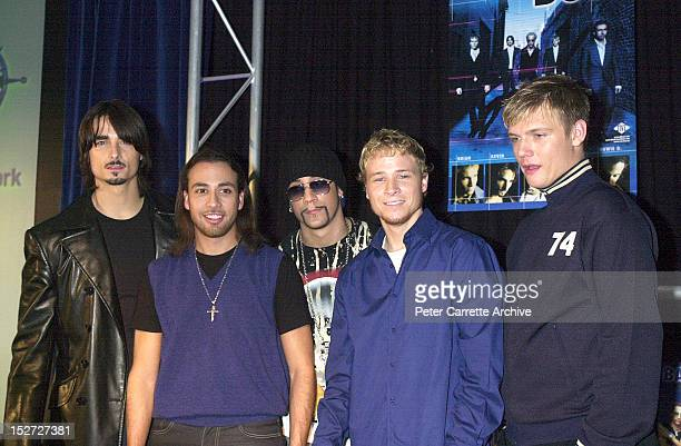 Members of American boy band 'The Backstreet Boys' during their 2 Day World Promo Tour on November 19 2000 in Sydney Australia