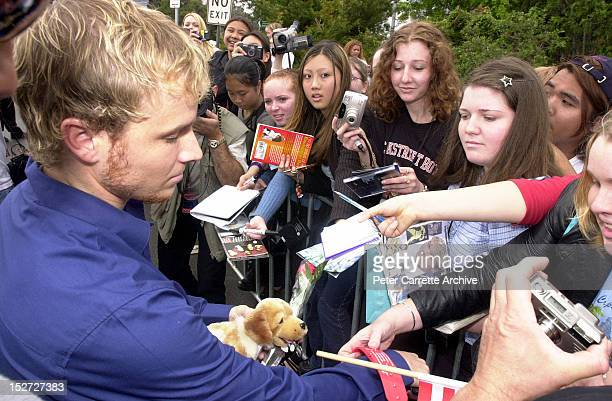 Members of American boy band 'The Backstreet Boys' greet fans during their 2 Day World Promo Tour on November 19 2000 in Sydney Australia