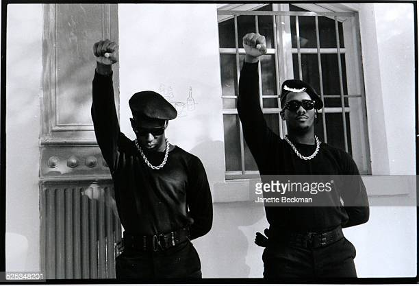 Members of American hip hop group Public Enemy giving a black power salute New York circa 1988