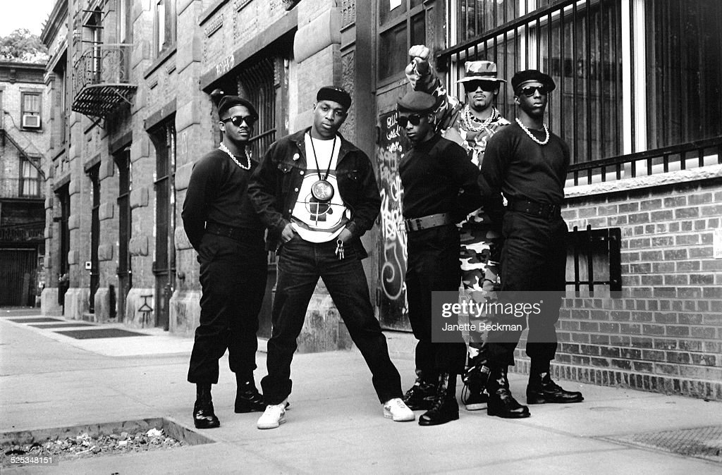 Members of American hip hop group Public Enemy outside the Def Jam record company office on Elizabeth Street, New York, 1988. Chuck D is second from left and Terminator X is second from right.