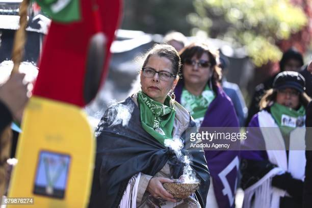 Members of American Indian Center hold a walk to mark their new American Indian Center home in Chicago United States on May 6 2017 The ceremony...