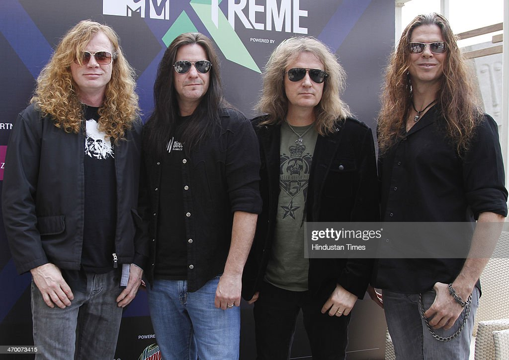 Members of American thrash metal band Megadeth (L - R) Dave Mustaine, Shawn Drover, David Ellefson and Chris Broderick during exclusive interview with Hindustan Times on February 15, 2014 at Hotel Crown Plaza in Greater Noida, India.