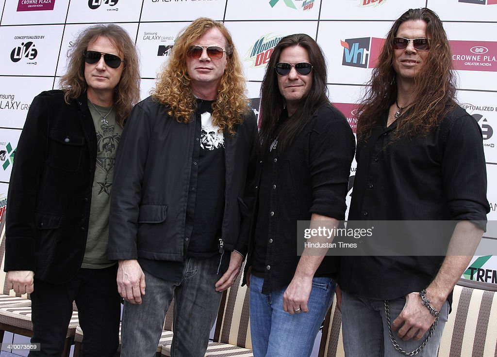 Members of American thrash metal band Megadeth (L - R) David Ellefson, Dave Mustaine, Shawn Drover and Chris Broderick during exclusive interview with Hindustan Times on February 15, 2014 at Hotel Crown Plaza in Greater Noida, India.