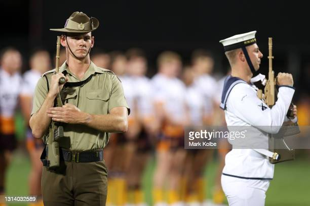Members of an Australia defense force catafalque party are seen during an ANZAC ceremony before the round seven NRL match between the Parramatta Eels...