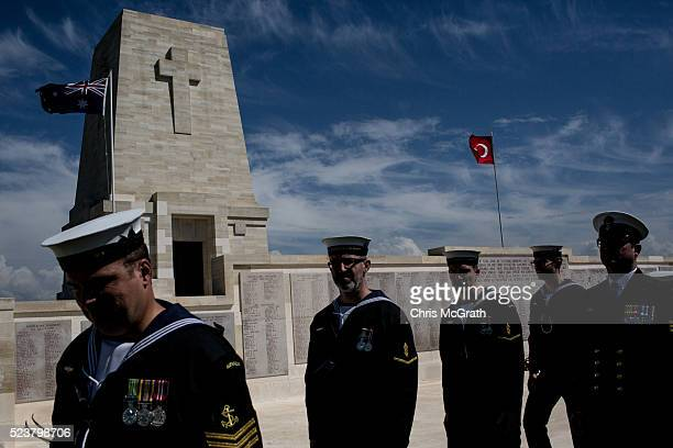 Members of an Australian Navy band walk in front of the memorial at the Lone Pine Cemetery and memorial on April 24, 2016 in Eceabat, Turkey. Turkish...
