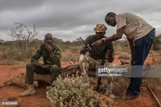 Members of an elephant collaring team check their radios before an operation on February 2 2018 in an area of ranches in TaitaTaveta Kenya The...