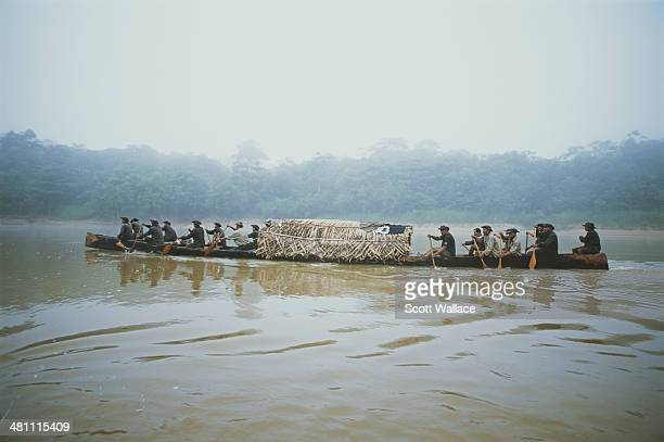 Members of an expedition led by Brazilian explorer social activist and ethnographer Sydney Possuelo travelling through the Amazon rainforest of...