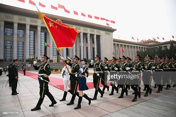 Members of an honor guard march during a rehearsal before a welcome ceremony for Portuguese President Anibal Cavaco Silva held by Chinese President...