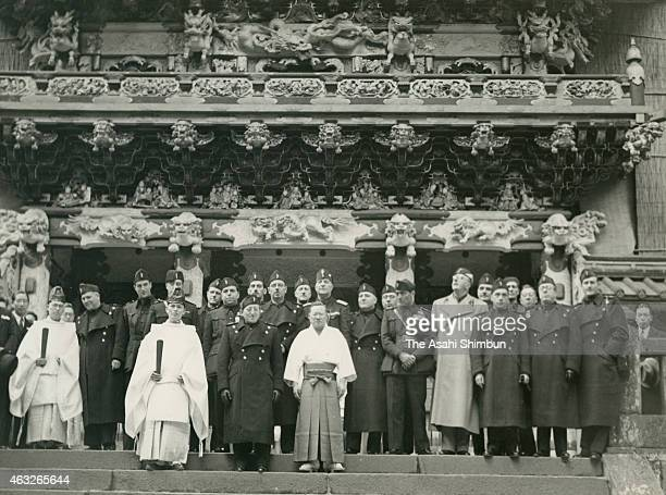 Members of an Italian delegation pose for photographs in front of the Yomeimon Gate of Nikko Toshogu Shrine on March 25 1938 in Nikko Tochigi Japan