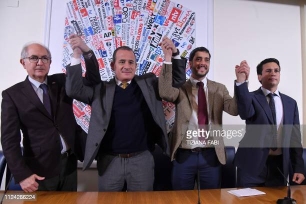 Members of an opposition delegation sent by Venezuela's selfproclaimed interim President former mayor of Caracas and founder of the Fearless People's...