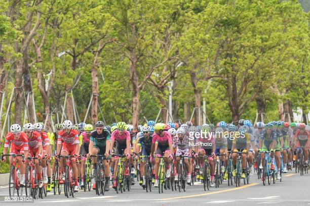 Members of Androni Sidermec Bottecchia team control the peloton during the fifth and final stage of the 2017 Tour of China 2, the 91.2km Zhuhai...