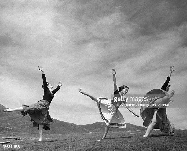 Members of Anna Halprin's modern dance troupe dance in the hills of Stinson Beach