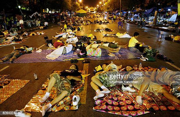 Members of Anti Government People's Alliance for Democracy sleep on the street outside Government House on September 3 in Bangkok Thailand Yesterday...