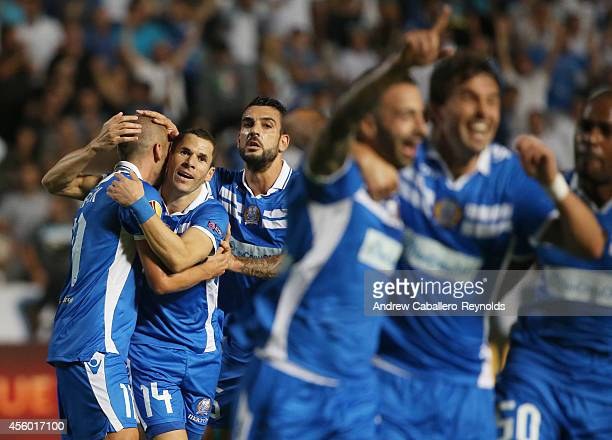 Members of Apollon Limassol FC celebrate scoring a goal in the UEFA Europa League match between Apollon Limassol FC ad FC Zurich on September 18 2014...