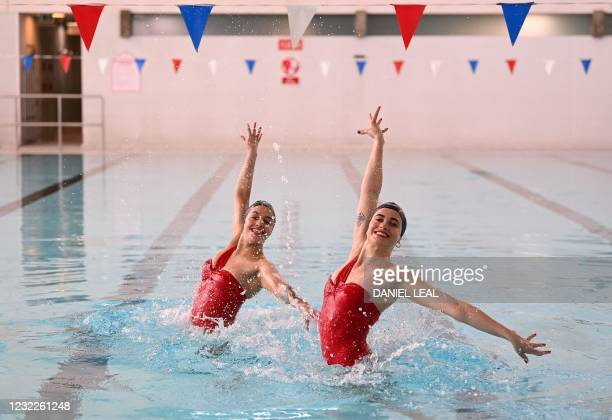 Members of Aquabatix, a synchronised swimming team practice at Clissold Leisure Centre in north London as coronavirus restrictions are eased across...