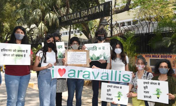 IND: Members Of Aravalli Bachao Protest Outside Haryana Bhawan Against Mining In The Aravallis