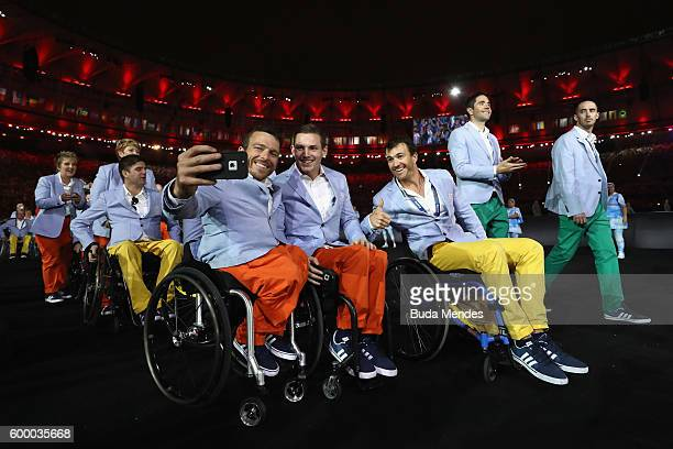 Members of Australia team enter the stadium during the Opening Ceremony of the Rio 2016 Paralympic Games at Maracana Stadium on September 7 2016 in...