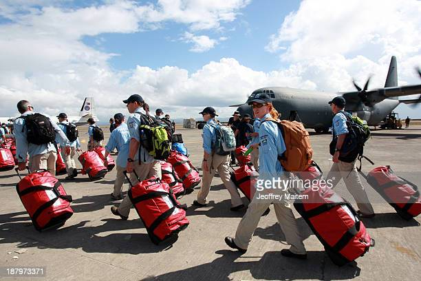 Members of Australian National Critical Care and Trauma response team arrive on November 14 2013 in Tacloban Leyte Philippines to help people...
