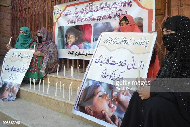 QUETTA BALOCHISTAN PAKISTAN Members of Balochistan citizens Alliance are holding protest demonstration against the killing of two female polio...