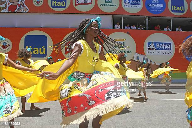 Members of Band Didá parade at Circuit Campo Grande in Carnival on February 11 2013 in Salvador Brazil