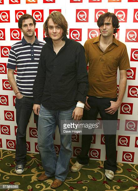 Members of band Keane Tom Chaplin Tim RiceOxley and Richard Hughes arrive for the Q Awards 2004 at Grosvenor House on Park Lane October 4 2004 in...