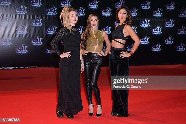 Members of band LEJ Juliette Saumagne Elisa Paris and Lucie Lebrun attend the 18th NRJ Music Awards at Palais des Festivals on November 12 2016 in...