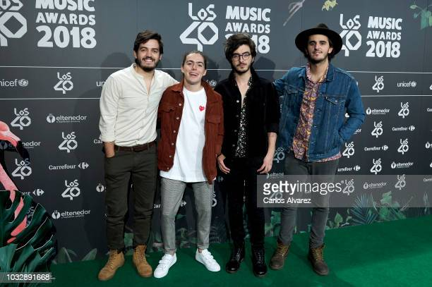 Members of band Morat attend the '40 Principales' awards nominated dinner at the Florida Park Club on September 13 2018 in Madrid Spain