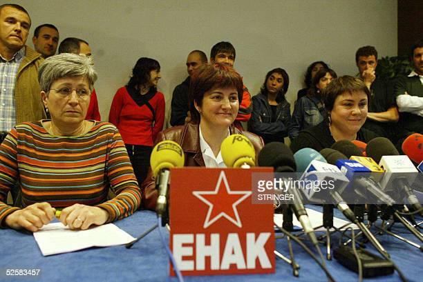 Members of Basque political party Euskal Herrialdetako Alderdi Komunista EHAK from Maite Aranburu Nekane Erauzkin and Karmele Berasategi give a press...