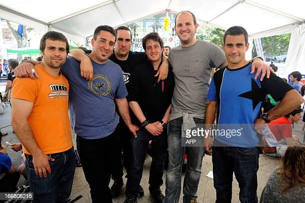 Members of Basque proindependence youth organization SEGI Egoi Alberdi Mikel Arretxe Ekaitz Ezkerra Oier Lorente Aitor Olaizola and Adur Fernandez...