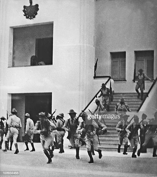 Members of Batista's army ready to go into action after the attack on the Moncada garrison house by the group led by Fidel Castro 26 July 1953