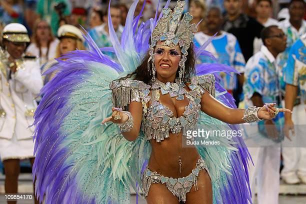 Members of Beija Flor dance during the samba school's parade at Rio de Janeiro's carnival on on March 07 2011 in Rio de Janeiro Brazil Carnival is...