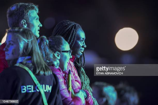 Members of Belgium's delegation take part in the opening ceremony of the 2018 Youth Olympic Games in Buenos Aires on October 6 2018