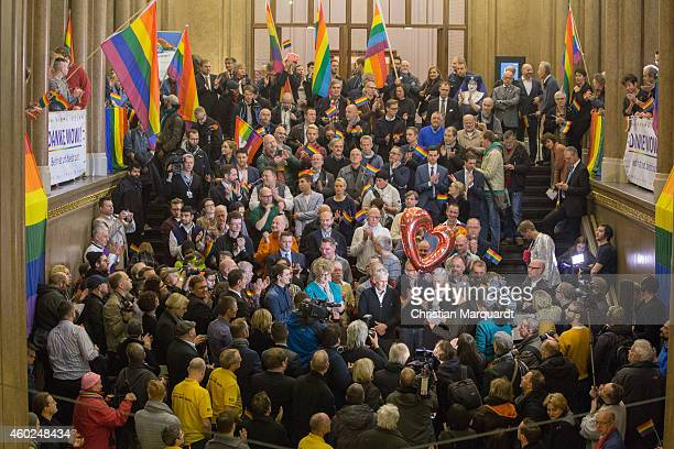 Members of Berlin's biggest gay and lesbian association the LSVD congratulate Berlin Mayor Klaus Wowereit on his 13 years as mayor of the city the...