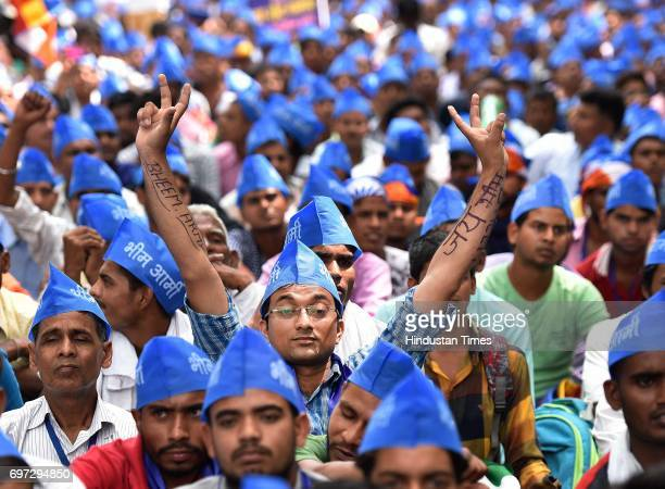 Members of Bhim Sena holding a protest over the arrest of their leader Chandrashekhar and other leaders at Jantar Mantar on June 18 2017 in New Delhi...