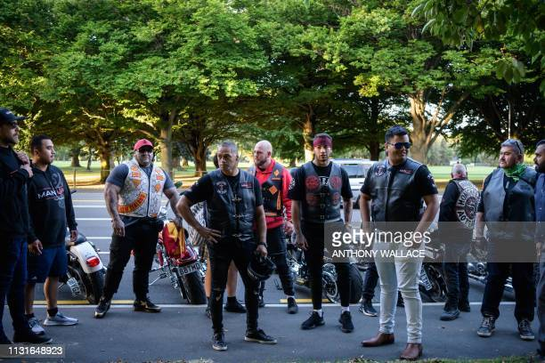 Members of biker gangs arrive before performing the haka in front of a gathering of people as a tribute to victims in Christchurch on March 20 five...