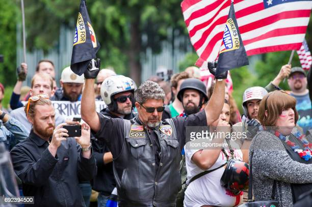Members of Bikers for Trump taunt counter protesters at proTrump Freedom Rally at Terry Schrunk plaza in downtown Portland on June 4 2017