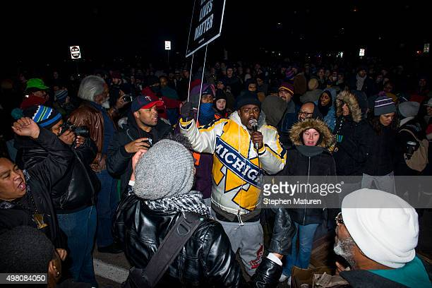 Members of Black Lives Matter activists and protestors march from a makeshift memorial for Jamar Clark on the side of Plymouth Avenue several blocks...