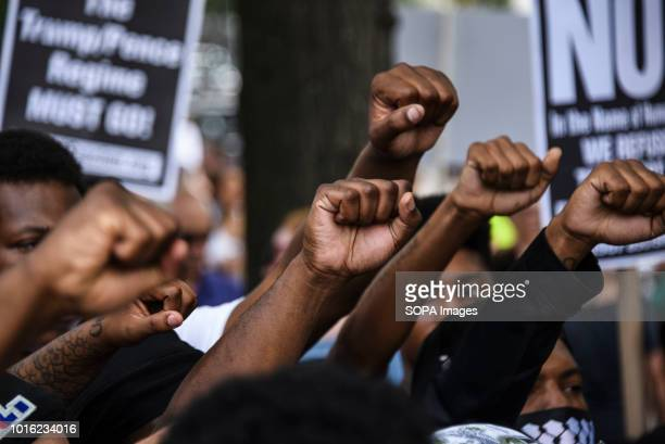 Members of Black Lives Matter at the Unite the Right 2 rally in Washington DC Despite predictions of a huge rally by the AltRight celebrating the...