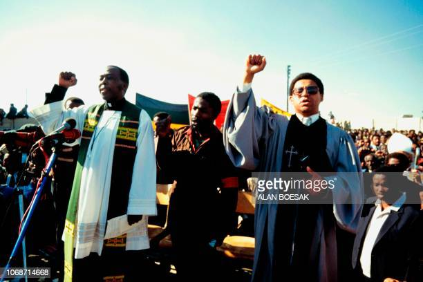 Members of 'Black Sash' antiapartheid movement pay their respect to Black antiapartheid militants killed by the Sout African police during their...