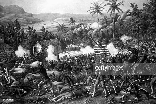 Members of black volunteer units in the Battle of Las Guasimas in Cuba during the Spanish-American War.