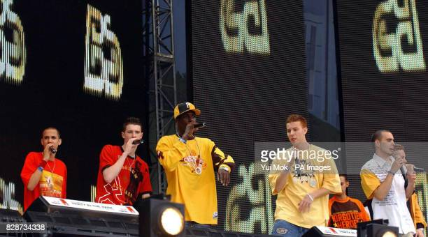 Members of Blazin' Squad performing on stage at the Capital Radio Party in the Park in Hyde Park London The concert is being held in aid of The...