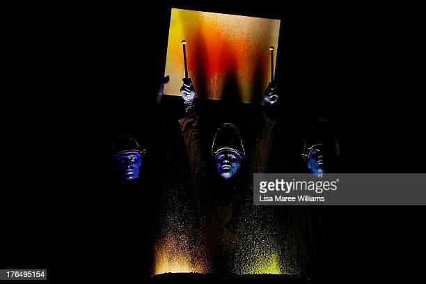 Members of Blue Man Group perform during a media call at Lyric Theatre Star City on August 14 2013 in Sydney Australia Blue Man Group are a...
