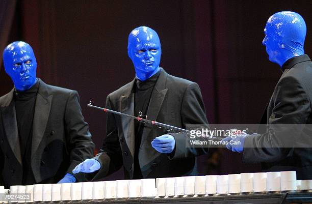 Members of Blue Man Group perform during for the 151st Anniversary of the Academy of Music January 26 2008 in Philadelphia Pennsylvania The...