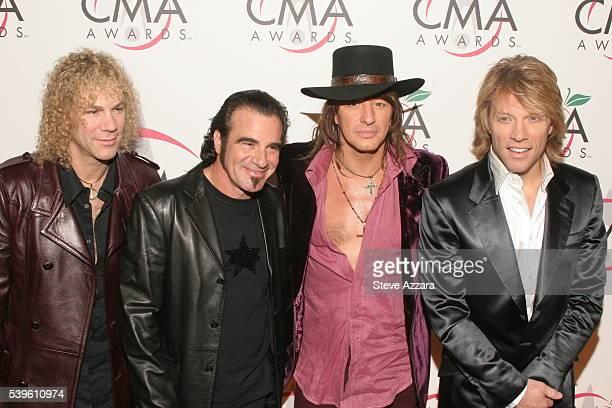 Members of Bon Jovi David Bryan Tico Torres Richie Sambora and Jon Bon Jovi arrive at the 39th Annual Country Music Awards held at Madison Square...